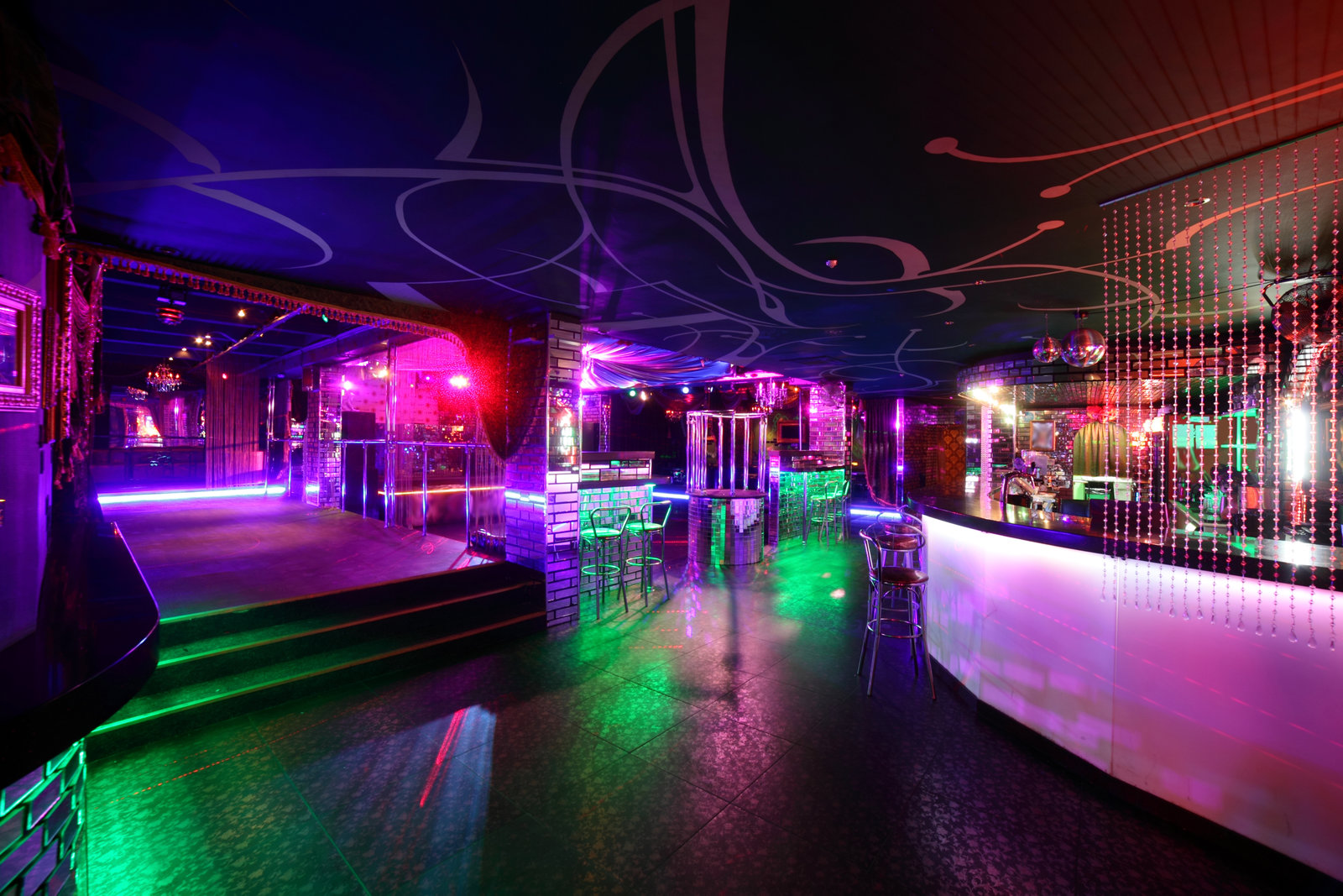 Entertainment Risk Hospitality Insurance Program Offerings colorful interior of bright and beautiful night club